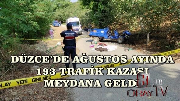 DÜZCE'DE AĞUSTOS AYINDA 193 TRAFİK KAZASI MEYDANA GELDİ