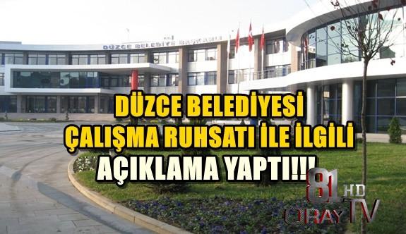 DÜZCE BELEDİYESİNDEN KAMUOYUNU BİLGİLENDİRME AÇIKLAMASI!!!