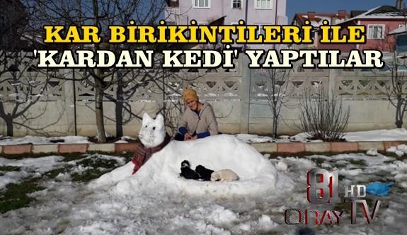 KAR BİRİKİNTİLERİ İLE 'KARDAN KEDİ' YAPTILAR