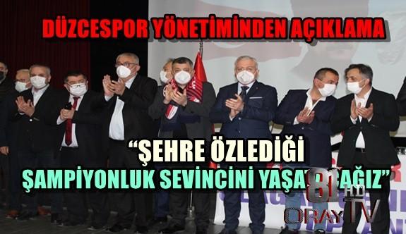 """""""ŞEHRE ÖZLEDİĞİ ŞAMPİYONLUK SEVİNCİNİ YAŞATACAĞIZ"""""""