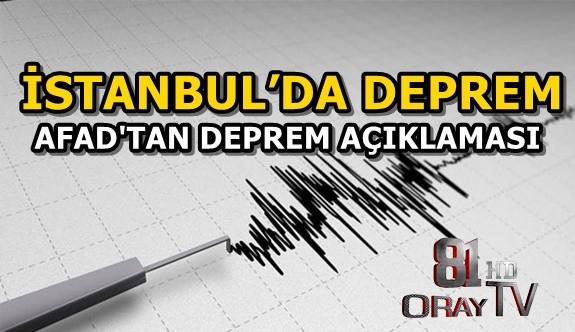 İSTANBUL'DA DEPREM MEYDANA GELDİ