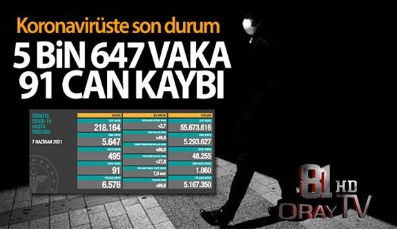 TÜRKİYE'DE SON 24 SAATTE 5.647 KORONAVİRÜS VAKASI TESPİT EDİLDİ
